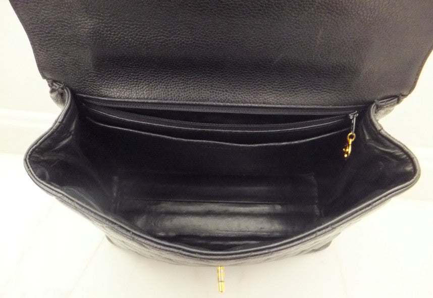 1f76b0882301 Authentic Chanel Jumbo Quilted Black Caviar Kelly Bag – Classic Coco ...