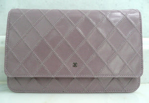 Authentic Chanel Lilac Quilted Wallet On Chain (WOC) Handbag