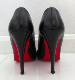 Authentic Christian Louboutin Black Leather Pump Sz 39