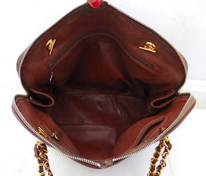 Authentic Chanel Vintage Whiskey Brown Caviar Large Shopper Tote