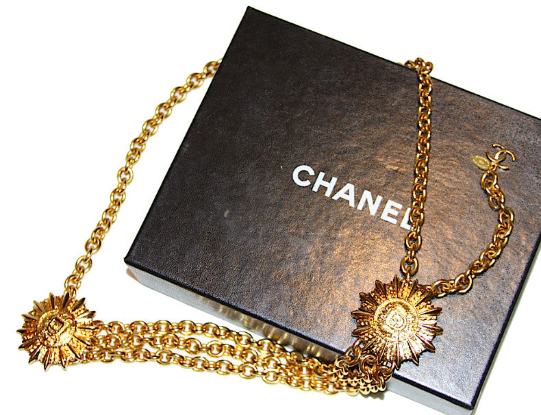 Authentic Chanel Vintage Large Medallion Coin Necklace
