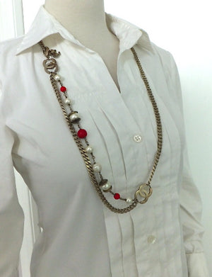 Authentic Chanel Matte Gold Red Gripoix & Pearl Necklace