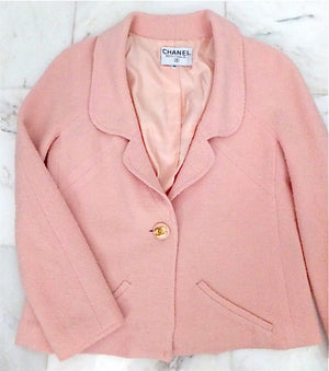 Authentic Chanel Vintage Pink Classic Boucle Jacket