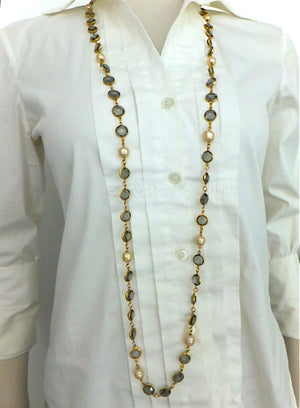 Authentic Chanel Vintage Blue Crystal & Pearl Sautoir Necklace