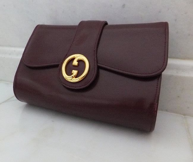 Authentic Gucci Burgundy Classic Clutch