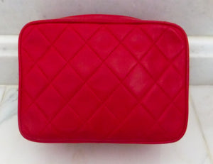 Authentic Chanel Vintage Red Quilted Camera Hbag