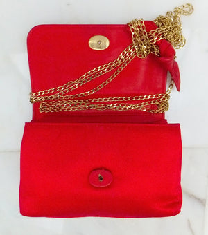 Authentic Chanel Vintage Mini Red Silk Flapover