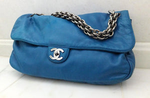 Authentic Chanel Jumbo Royal Blue Modern Chain Flapover
