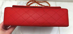 Authentic Chanel Vintage Red Quilted 2.55 Flapover