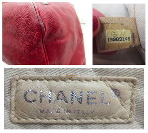 Authentic Chanel Distressed Red Caviar Outdoor Linge Grand Double Chain Tote