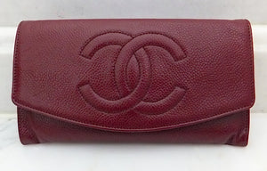 Authentic Chanel Vintage Caviar Burgundy Wallet On Chain (WOC) Handbag