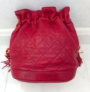 Authentic Chanel Vintage Red Quilted Drawstring
