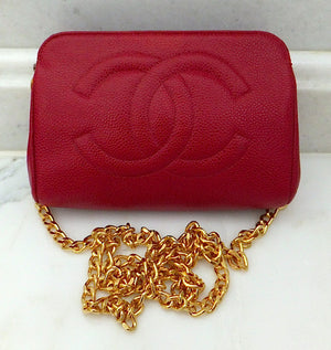 Authentic Chanel Vintage Caviar Red Wallet On Chain (WOC) Handbag