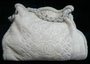 Authentic Chanel Modern Chain Shearling Bone Jumbo