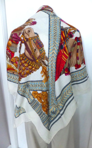 Authentic Hermes Horse Cashmere & Silk Shawl