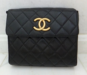 Authentic Chanel Vintage Black Quilted Lambskin Flapover