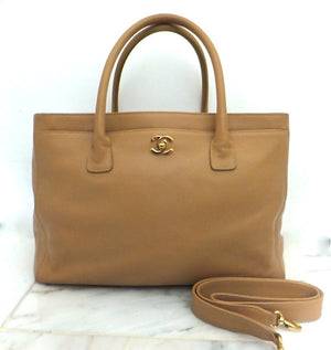 Authentic Chanel Cerf Executive Tan Caviar Tote