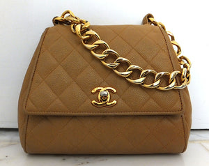 Authentic Chanel Vintage Tan Caviar Mini Flapover