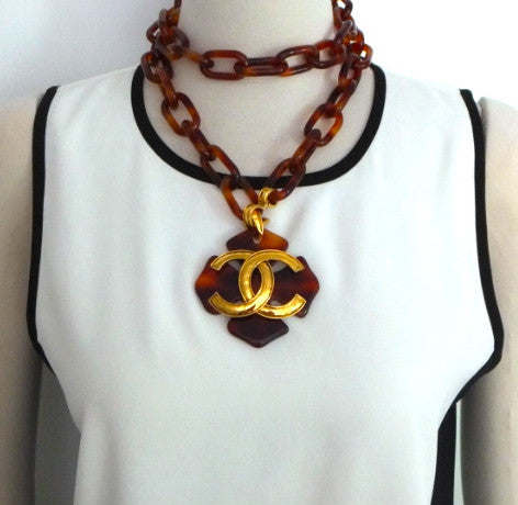 Authentic Chanel Vintage Tortoise Necklace