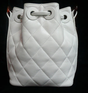 Authentic Chanel White Quilted Tortoise Hardware Drawstring Handbag