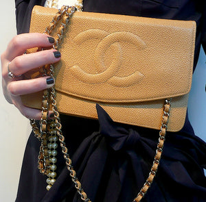 Authentic Chanel Tan Caviar Wallet On Chain (WOC) Handbag