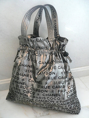 Authentic Chanel Modern 'Unlimited' Logo Silver Maxi Tote