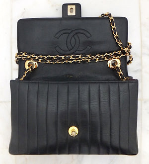 "Authentic Chanel Vintage Vertical 10"" 2.55 Black Flapover"