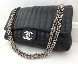 "Authentic Chanel Vertical 10"" 2.55 Silver Modern Chain Flap"