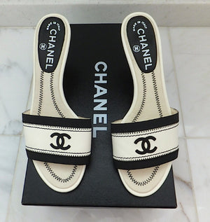 Authentic Chanel Black & White Sandals SZ 36.5