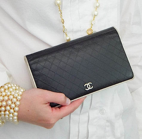 Authentic Chanel Quilted Black and White Quilted Bi-Fold Wallet