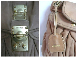 Authentic Prada Miu Miu Matelasse Large Carmel Coffer bag