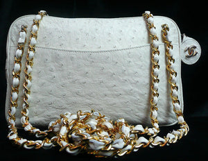 Authentic Chanel Bone Ostrich Skin Camera Handbag