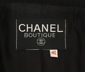 Chanel Vintage Classic Black Boclue Tweed Jacket