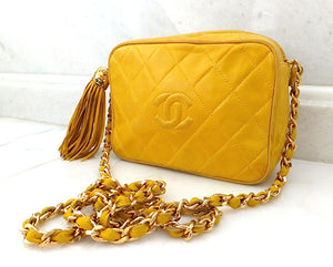 Authentic Chanel Vintage Yellow Quilted Camera Style Handbag
