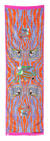 Enchanted Birds Rectangular Scarf (Flame)