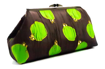 Churring Birds Clutch purse green