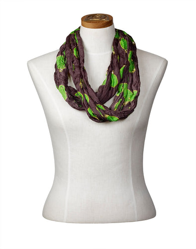 Churring Birds Infinity Scarf (Green)