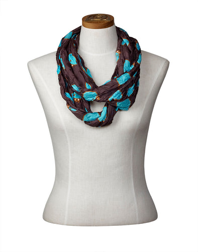 Churring Birds Infinity Scarf (Turquoise)