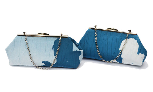Shadow Clutch with Chain (Blue/White)