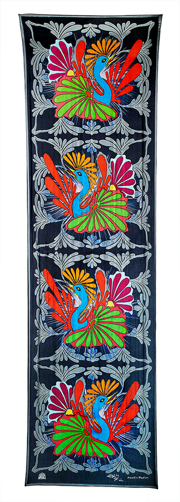 Nesting Birds Rectangular Scarf (Bright Black)