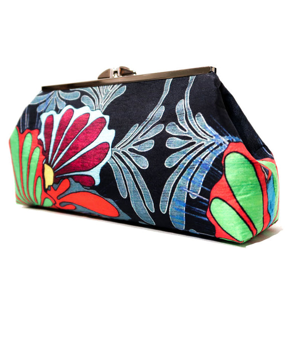 Nesting Bird Clutch - Bright Blk. back side view