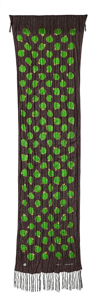 Churring Birds Fringe Scarf (Green/Yellow)