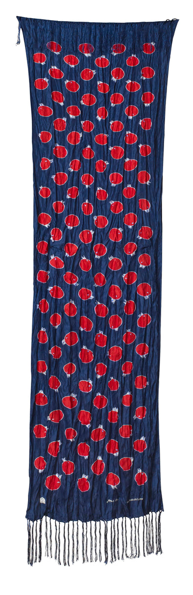 Churring Birds Fringe Scarf (Red/Blue)