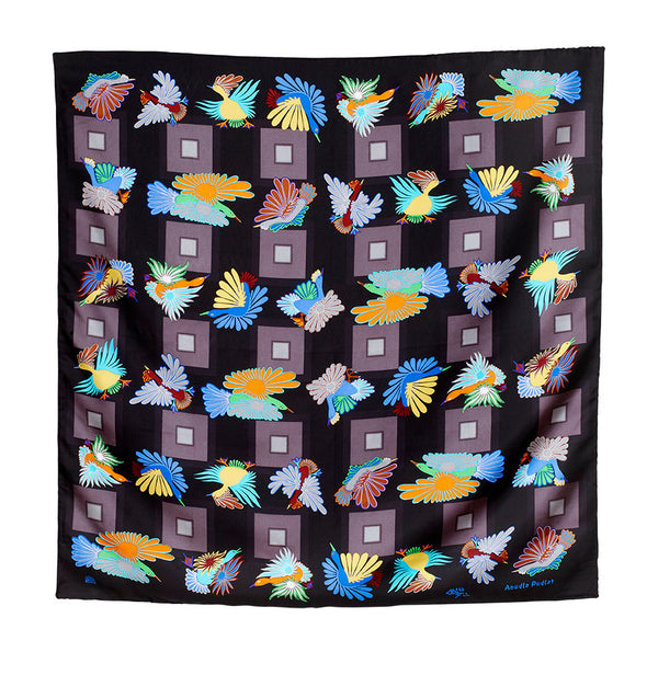 "Night Migration Silk Scarf 36"" x 36"" also used to make Clutch bags."
