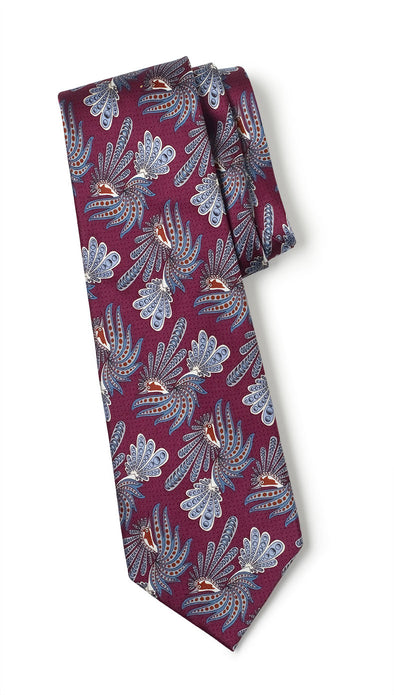 Imperial Bird Silk Tie (Wine)