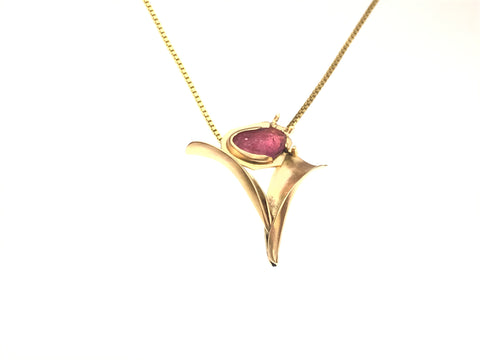 Dainty flower in 14k and 22k gold with either precious or semi-precious stones