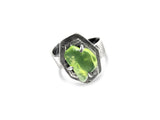 Two-tier geometric adjustable Ring - Peridot pattieparkhurst
