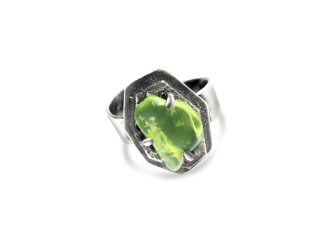Two-tier geometric adjustable Ring - Peridot