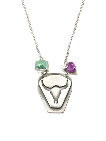 Longhorn turquoise and amethyst necklace