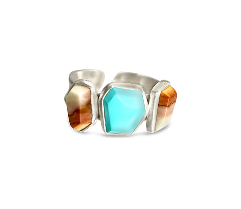 Imperial jasper and turquoise ring band